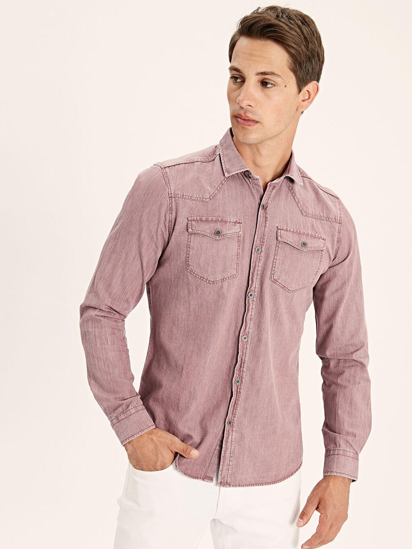 %100 Pamuk Uzun Kol Düz En Dar Gömlek Düğmesiz Ekstra Dar Kalıp Uzun Kollu Gabardin Gömlek