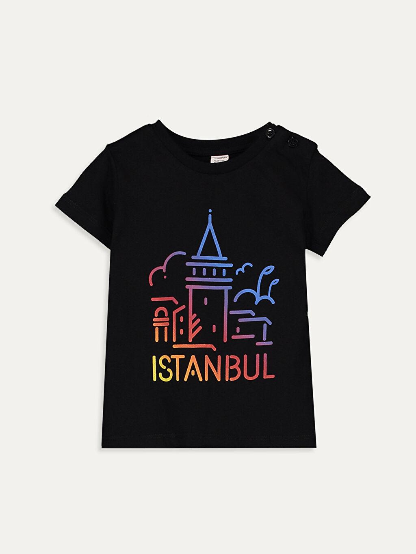 Siyah Unisex Bebek İstanbul Temalı Pamuklu Tişört 9WQ259Z1 LC Waikiki
