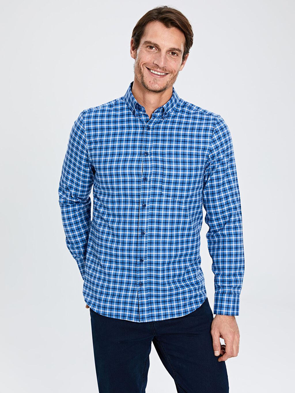 Mavi Regular Fit Ekose Uzun Kollu Gabardin Gömlek 9WQ490Z8 LC Waikiki