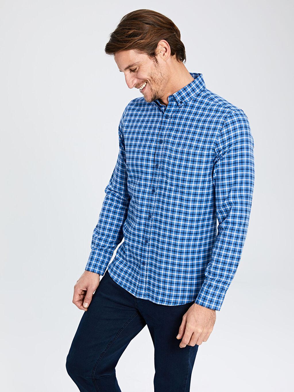 %55 Pamuk %45 Polyester Normal Uzun Kol Ekoseli Gömlek Düğmeli Regular Fit Ekose Uzun Kollu Gabardin Gömlek