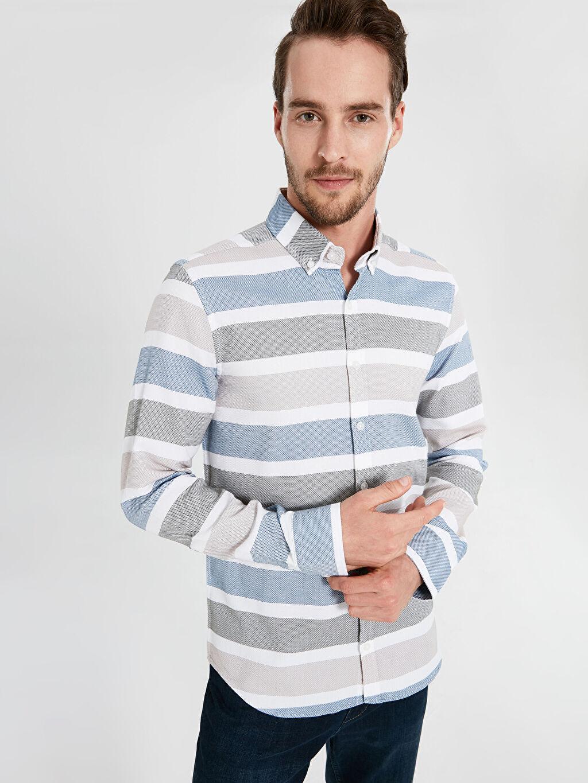 %100 Pamuk Dar Uzun Kol Çizgili Gömlek Düğmeli Slim Fit Armürlü Uzun Kollu Gömlek
