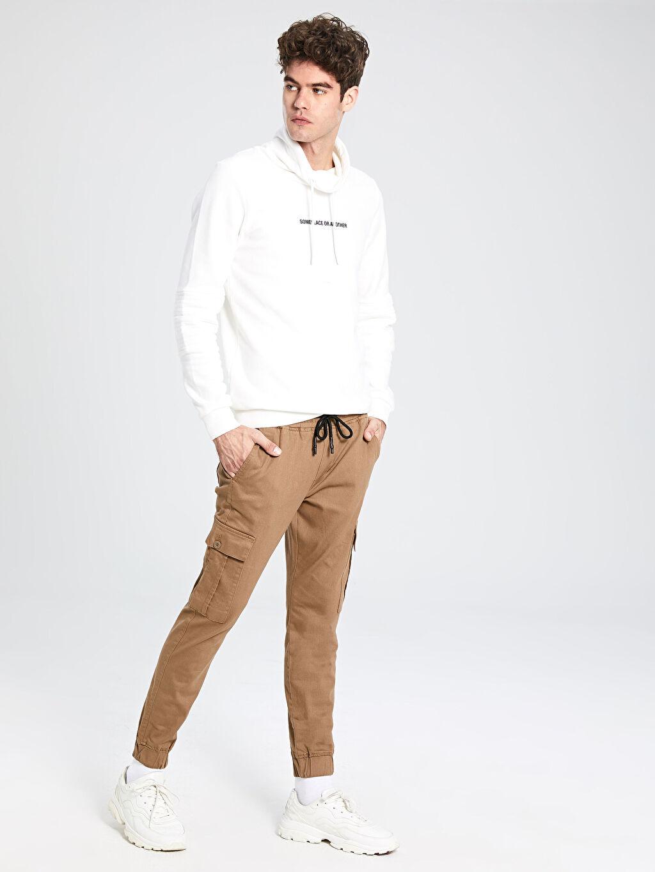 %97 Pamuk %3 Elastan Normal Bel Dar Pantolon Slim Fit Gabardin Kargo Pantolon