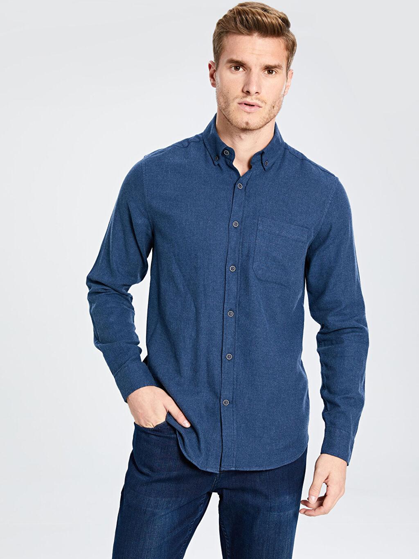 %100 Pamuk Normal Düz Uzun Kol Gömlek Düğmeli Regular Fit Uzun Kollu Gabardin Gömlek
