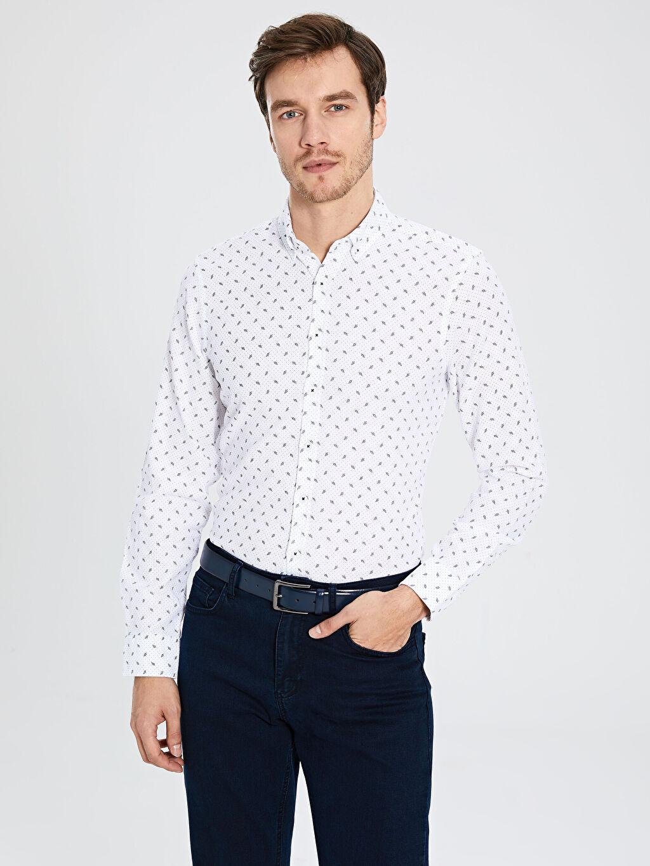 Beyaz Slim Fit Uzun Kollu Armürlü Poplin Gömlek 9WS740Z8 LC Waikiki