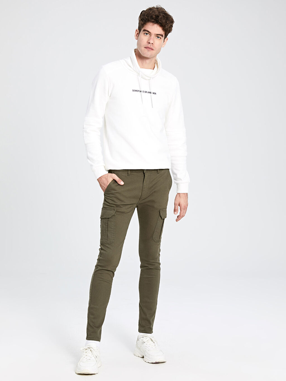 Haki Ekstra Slim Fit Gabardin Pantolon 9WT412Z8 LC Waikiki