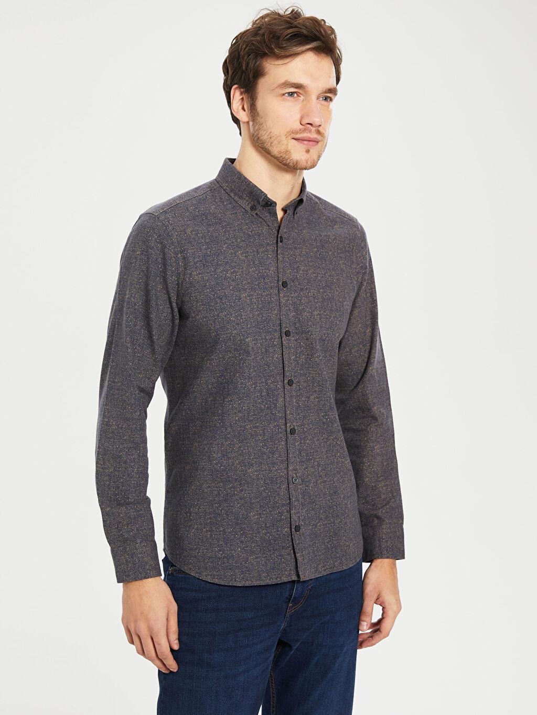 Erkek Düz Dar Uzun Kollu Gömlek