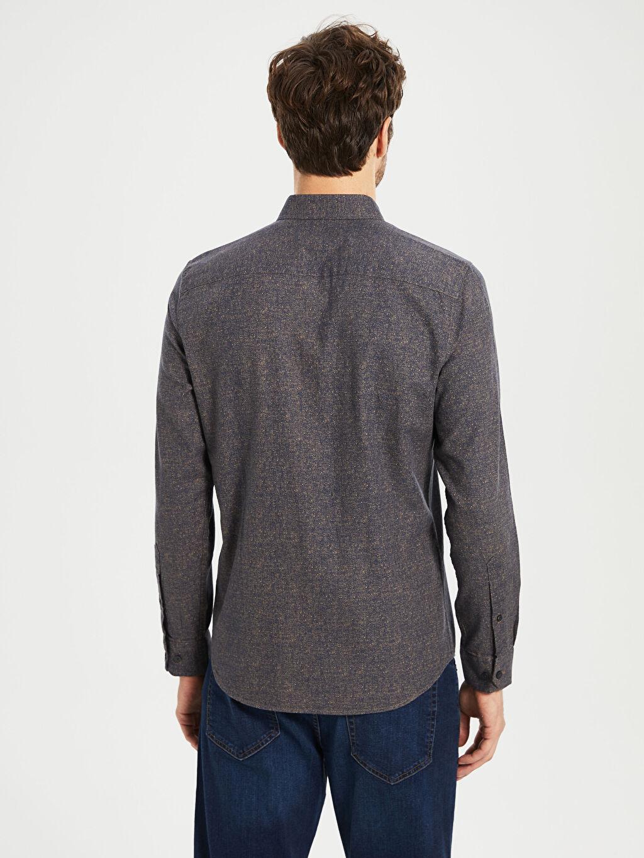 %100 Pamuk Düz Dar Uzun Kollu Gömlek