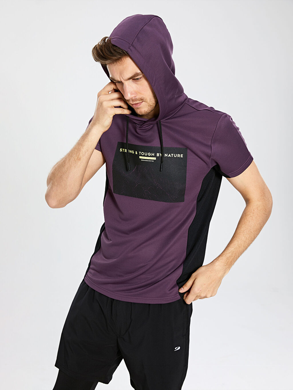 %100 Polyester  Kapüşonlu Aktif Spor Sweatshirt