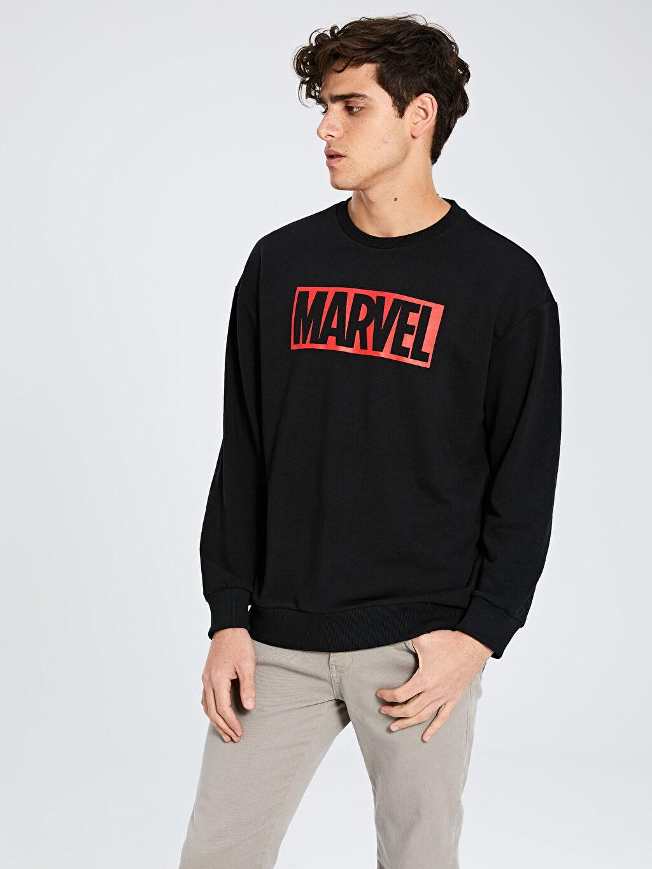 %42 Pamuk %58 Polyester  Marvel Baskılı Bisiklet Yaka Kalın Sweatshirt