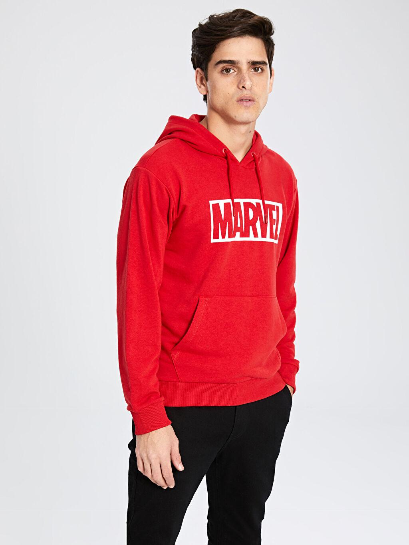 Erkek Marvel Baskılı Kapüşonlu Kalın Sweatshirt