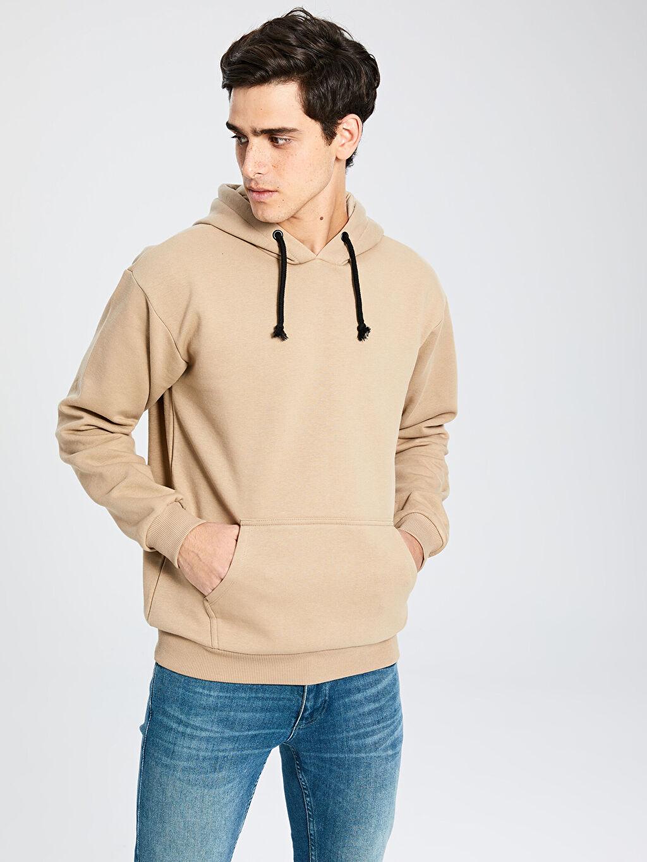 Bej Kapüşonlu Basic Kalın Sweatshirt 9WU290Z8 LC Waikiki
