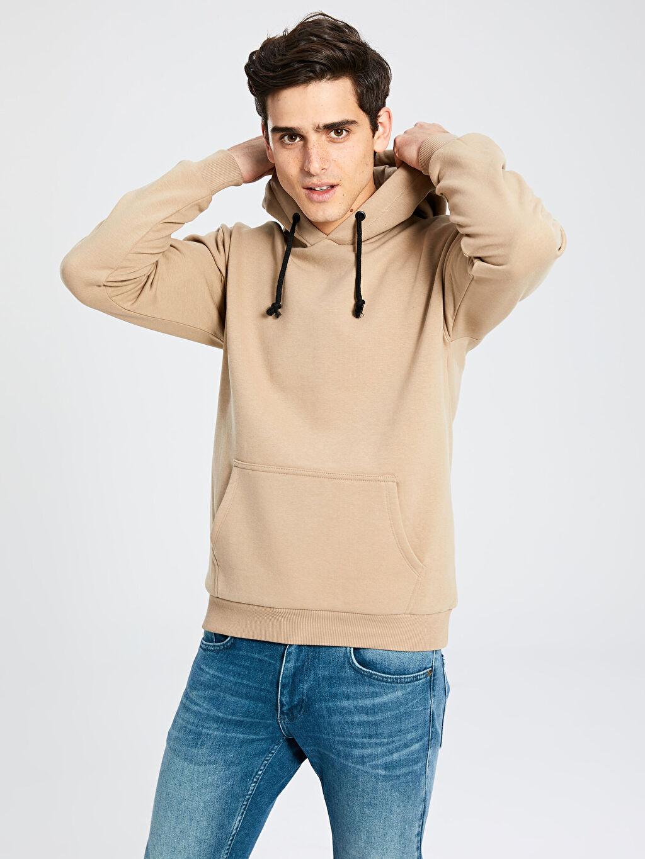 %68 Pamuk %32 Polyester Kapüşonlu Basic Kalın Sweatshirt