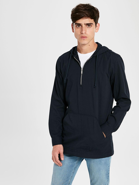 Lacivert Kapüşonlu Basic Sweatshirt 9WU355Z8 LC Waikiki