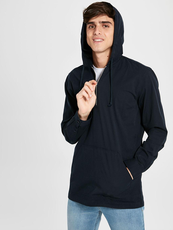 %100 Pamuk  Kapüşonlu Basic Sweatshirt