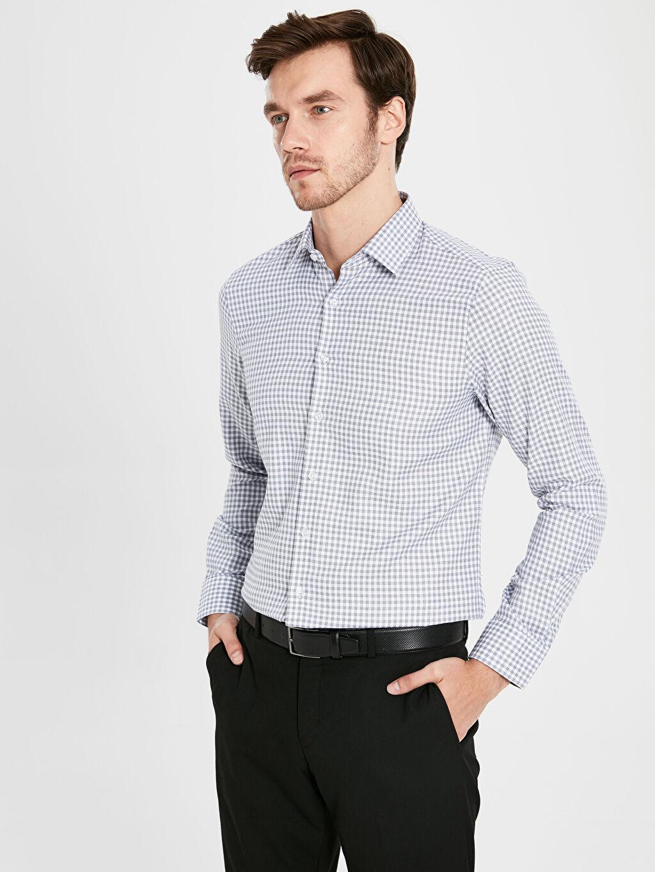 %100 Pamuk Gömlek Düğmesiz Ekoseli Uzun Kol Dar Slim Fit Ekose Uzun Kollu Armürlü Gömlek