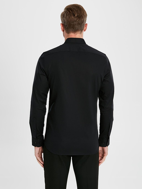 %97 Pamuk %3 Elastan Slim Fit Uzun Kollu Poplin Gömlek