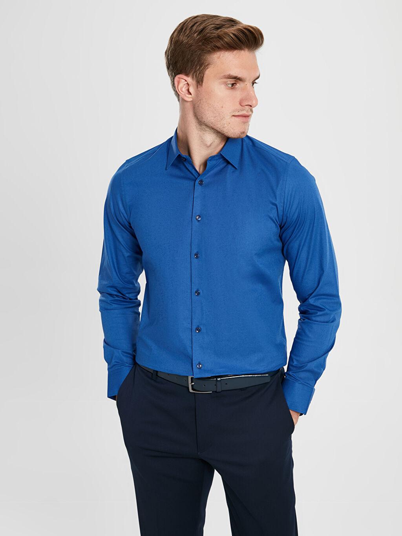 Mavi Slim Fit Uzun Kollu Poplin Gömlek 9WU530Z8 LC Waikiki
