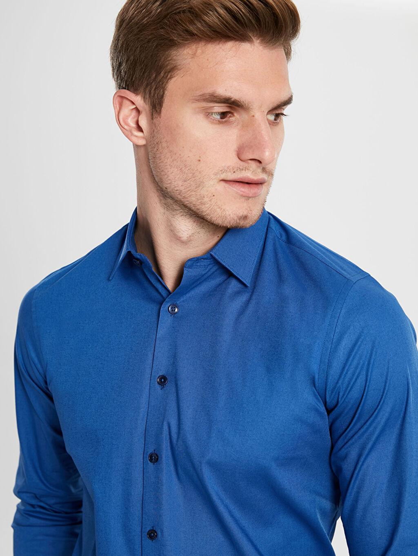 Erkek Slim Fit Uzun Kollu Poplin Gömlek