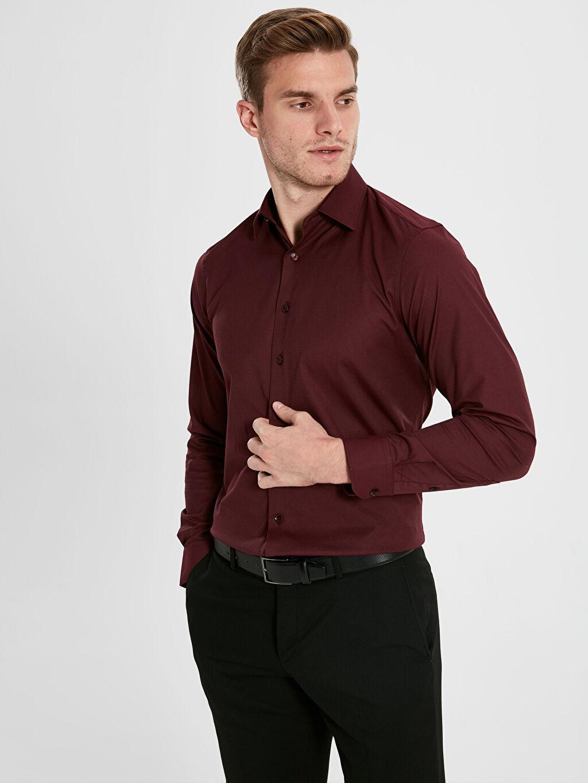 %55 Pamuk %42 Polyester %3 Elastan Dar Gömlek Düğmesiz Düz Uzun Kol Slim Fit Uzun Kollu Oxford Gömlek
