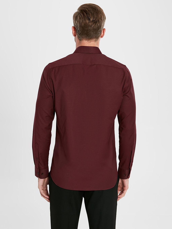 %55 Pamuk %42 Polyester %3 Elastan Slim Fit Uzun Kollu Oxford Gömlek