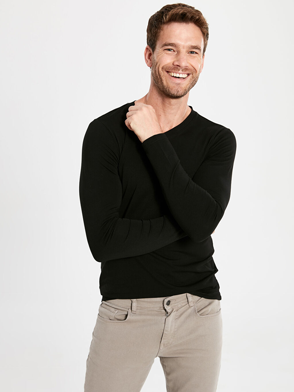 %96 Pamuk %4 Elastan Düz Uzun Kol Tişört V yaka Dar V Yaka Basic Uzun Kollu Tişört