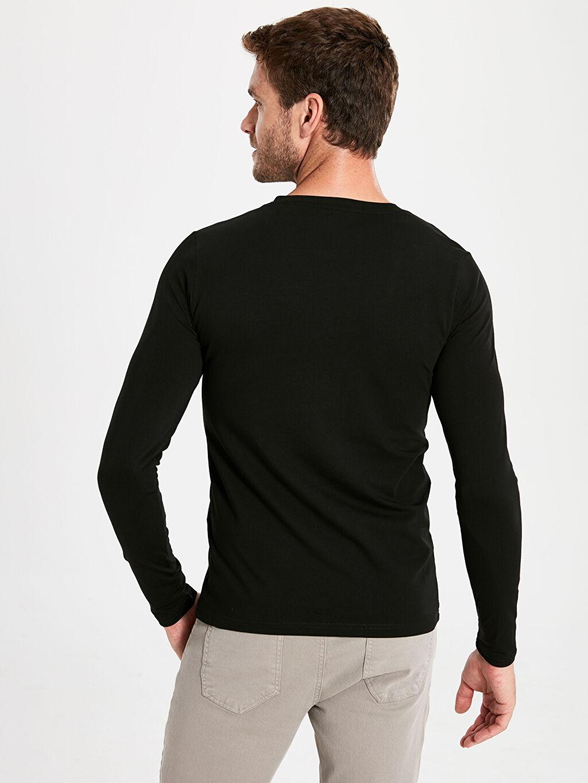 %96 Pamuk %4 Elastan V Yaka Basic Uzun Kollu Tişört