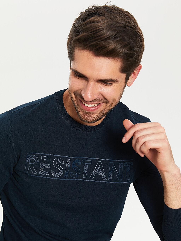 %72 Pamuk %22 Polyester %6 Elastan Bisiklet Yaka Baskılı Uzun Kollu Tişört