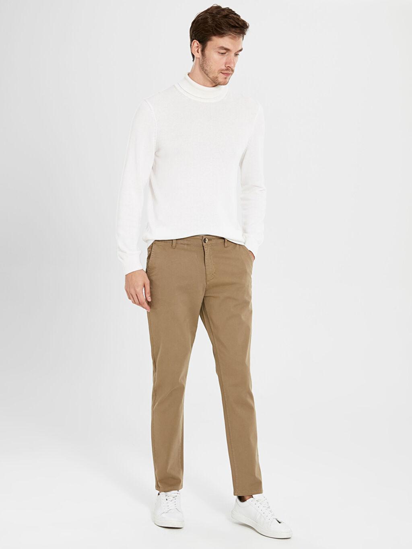 Erkek Dar Kalıp Gabardin Chino Pantolon