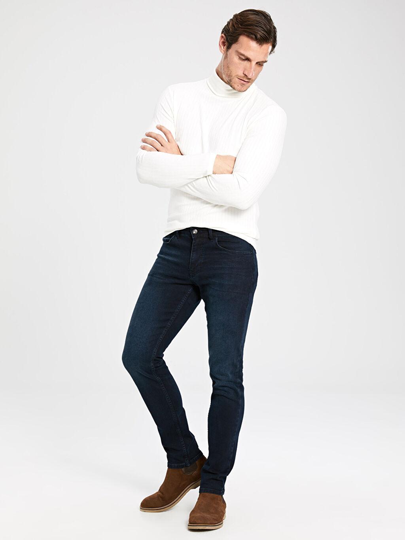 %99 Pamuk %1 Elastan Dar Jean Normal Bel 750 Slim Fit Jean Pantolon