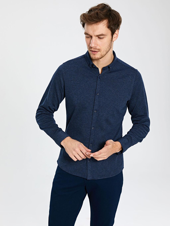 %71 Polyester %25 Viskoz %4 Elastan Desenli Uzun Kol Gömlek Düğmeli Dar Slim Fit Uzun Kollu Gömlek