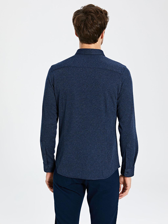 %71 Polyester %25 Viskoz %4 Elastan Slim Fit Uzun Kollu Gömlek