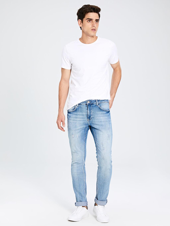 %99 Pamuk %1 Elastan Dar Normal Bel Jean 750 Slim Fit Jean Pantolon