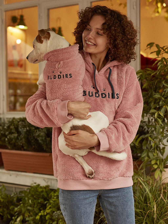 %100 Polyester Kapüşonlu İşlemeli Kalın Polar Sweatshirt