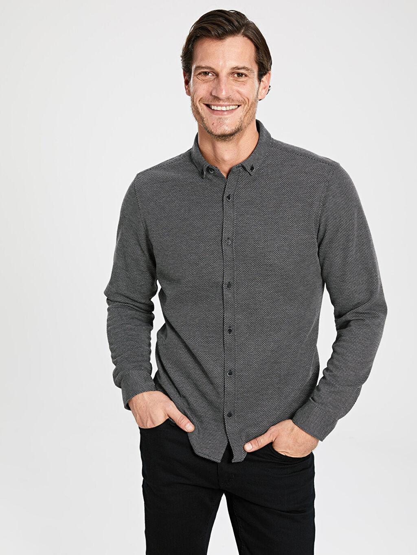 Gri Slim Fit Uzun Kollu Armürlü Gömlek 9WV868Z8 LC Waikiki