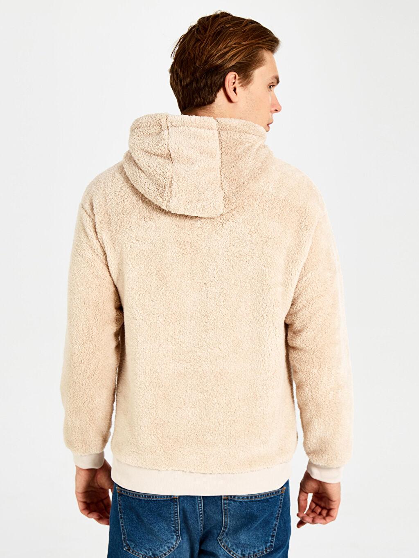 Erkek Kapüşonlu İşlemeli Kalın Polar Sweatshirt