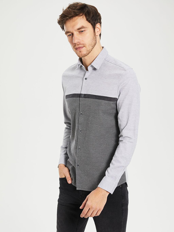 %100 Pamuk Dar Desenli Uzun Kol Gömlek Düğmesiz Slim Fit Armürlü Uzun Kollu Gömlek