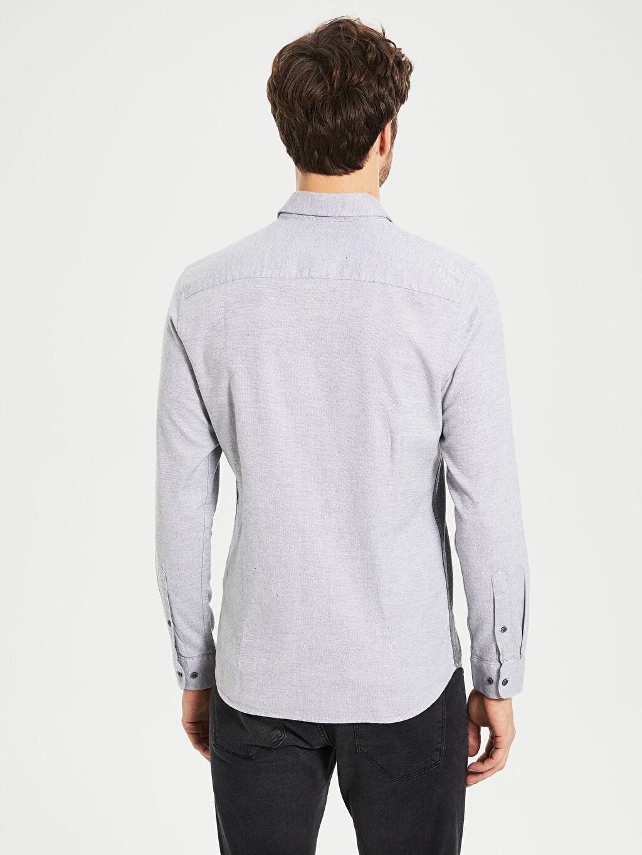 %100 Pamuk Slim Fit Armürlü Uzun Kollu Gömlek