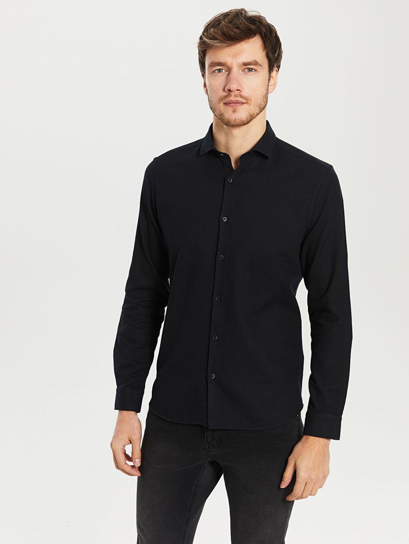 %100 Pamuk Dar Düz Uzun Kol Gömlek Düğmesiz Slim Fit Gabardin Gömlek