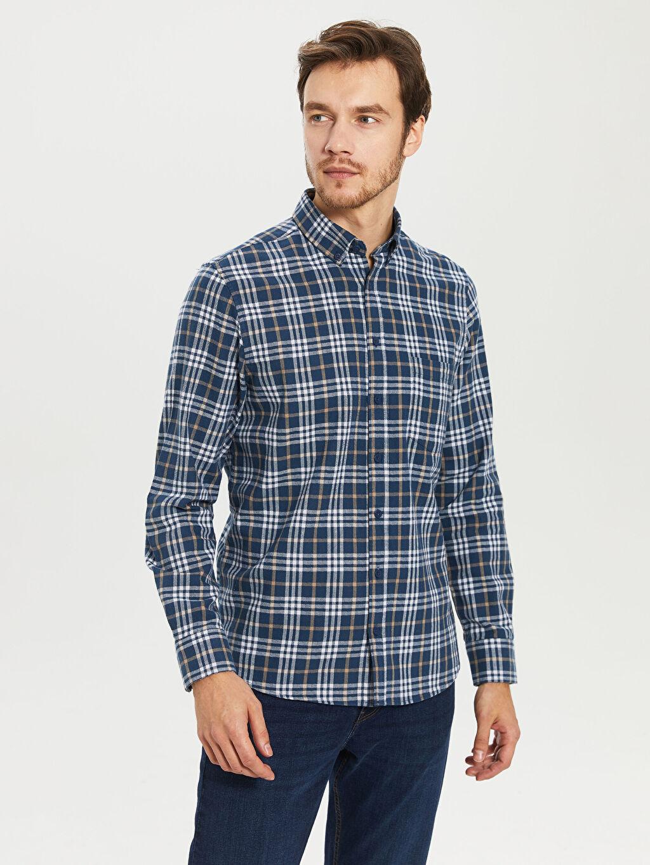 %100 Pamuk Normal Uzun Kol Ekoseli Gömlek Düğmeli Kareli Normal Uzun Kollu Gömlek