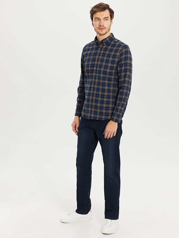 %56 Pamuk %44 Polyester Regular Fit Ekose Gabardin Gömlek