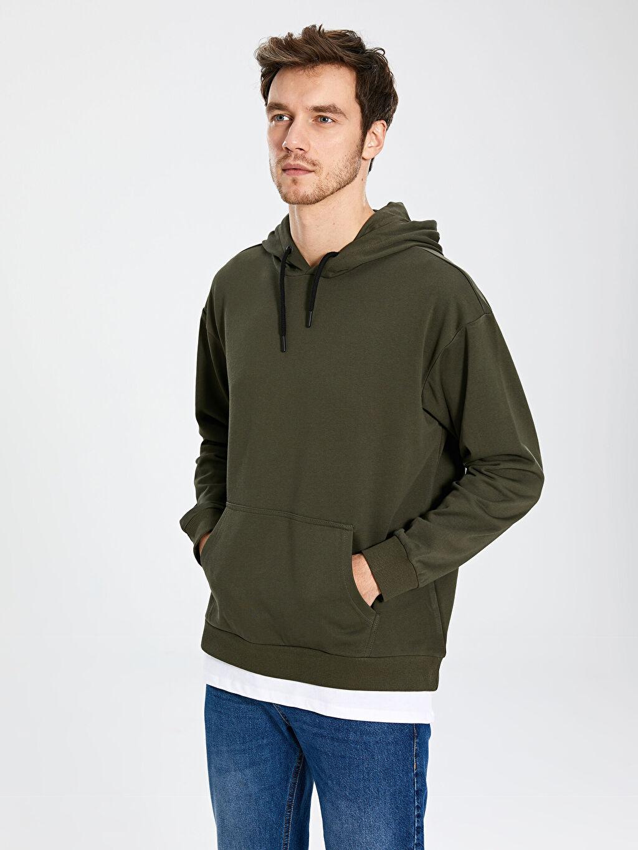 Haki Kapüşonlu Basic Kalın Sweatshirt 9WY461Z8 LC Waikiki