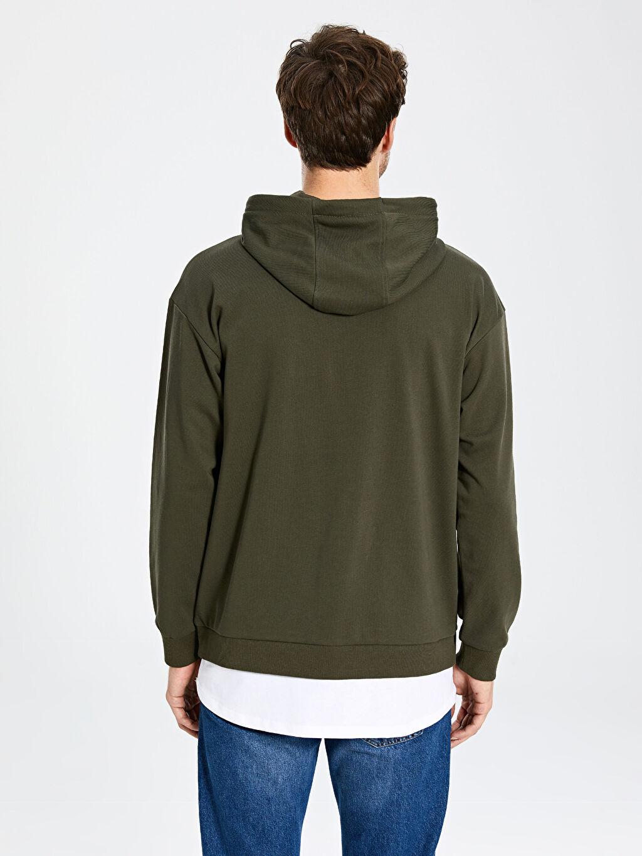 %66 Pamuk %34 Polyester Kapüşonlu Basic Kalın Sweatshirt