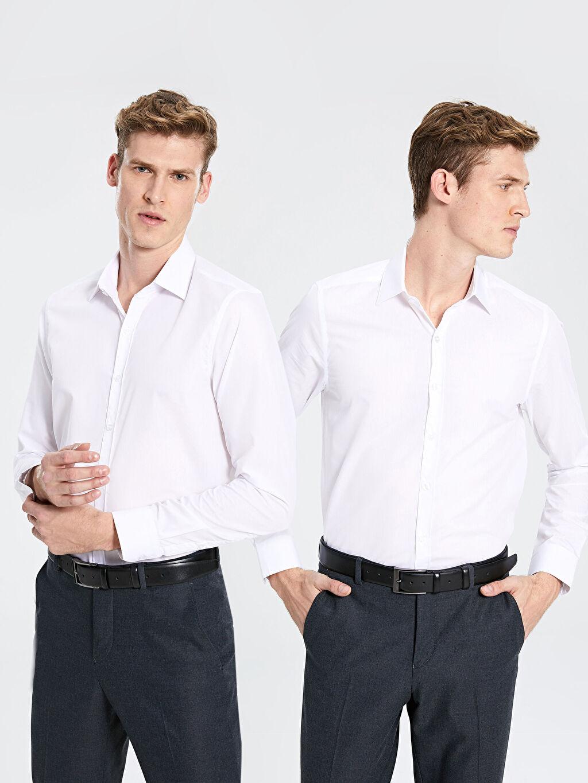 Beyaz Slim Fit Poplin Gömlek 9WY718Z8 LC Waikiki