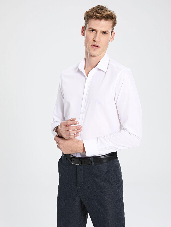 %41 Pamuk %59 Polyester Dar Düz Uzun Kol Gömlek Düğmesiz Slim Fit Poplin Gömlek