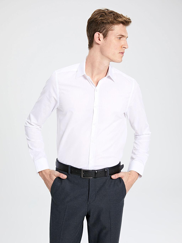 %41 Pamuk %59 Polyester Dar Düz Uzun Kol Gömlek Düğmesiz Slim Fit Poplin Gömlek 2'li