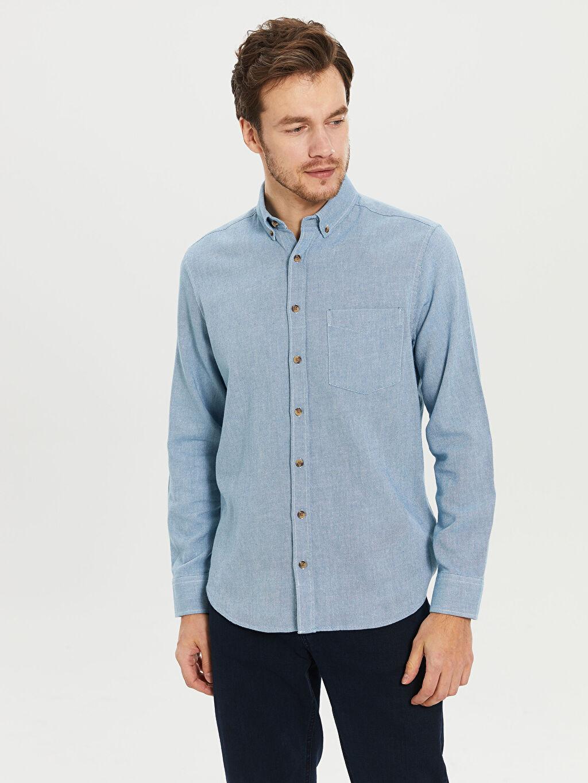 %100 Pamuk Normal Uzun Kol Düz Gömlek Düğmesiz Regular Fit Gabardin Gömlek