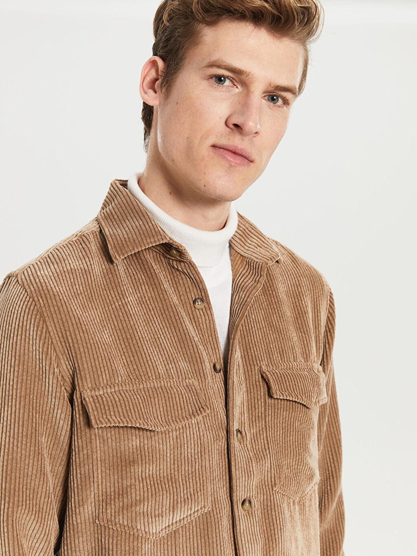 %86 Poliester %13 Poliamid %1 Elastan Normal Uzun Kol Düz Gömlek Düğmesiz Regular Fit Kadife Gömlek