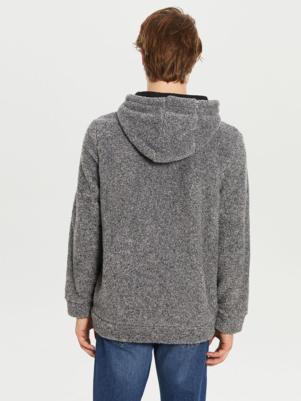 %100 Polyester Kapüşonlu Peluş Kalın Sweatshirt