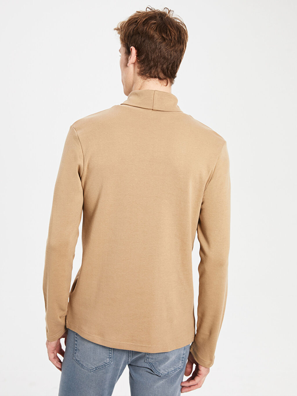 %100 Pamuk Balıkçı Yaka Kalın Sweatshirt