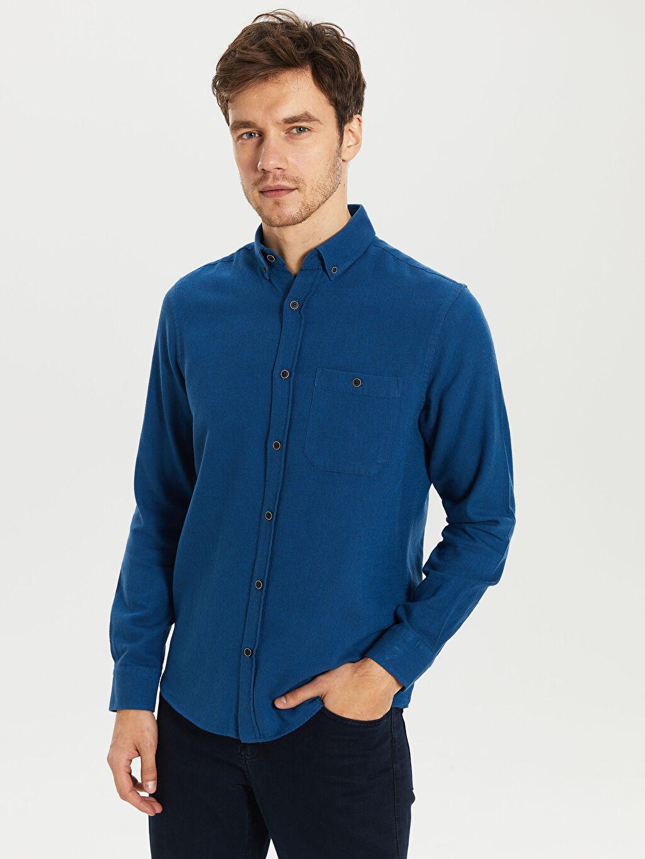 Mavi Düz Normal Uzun Kollu Gömlek 9WB072Z8 LC Waikiki